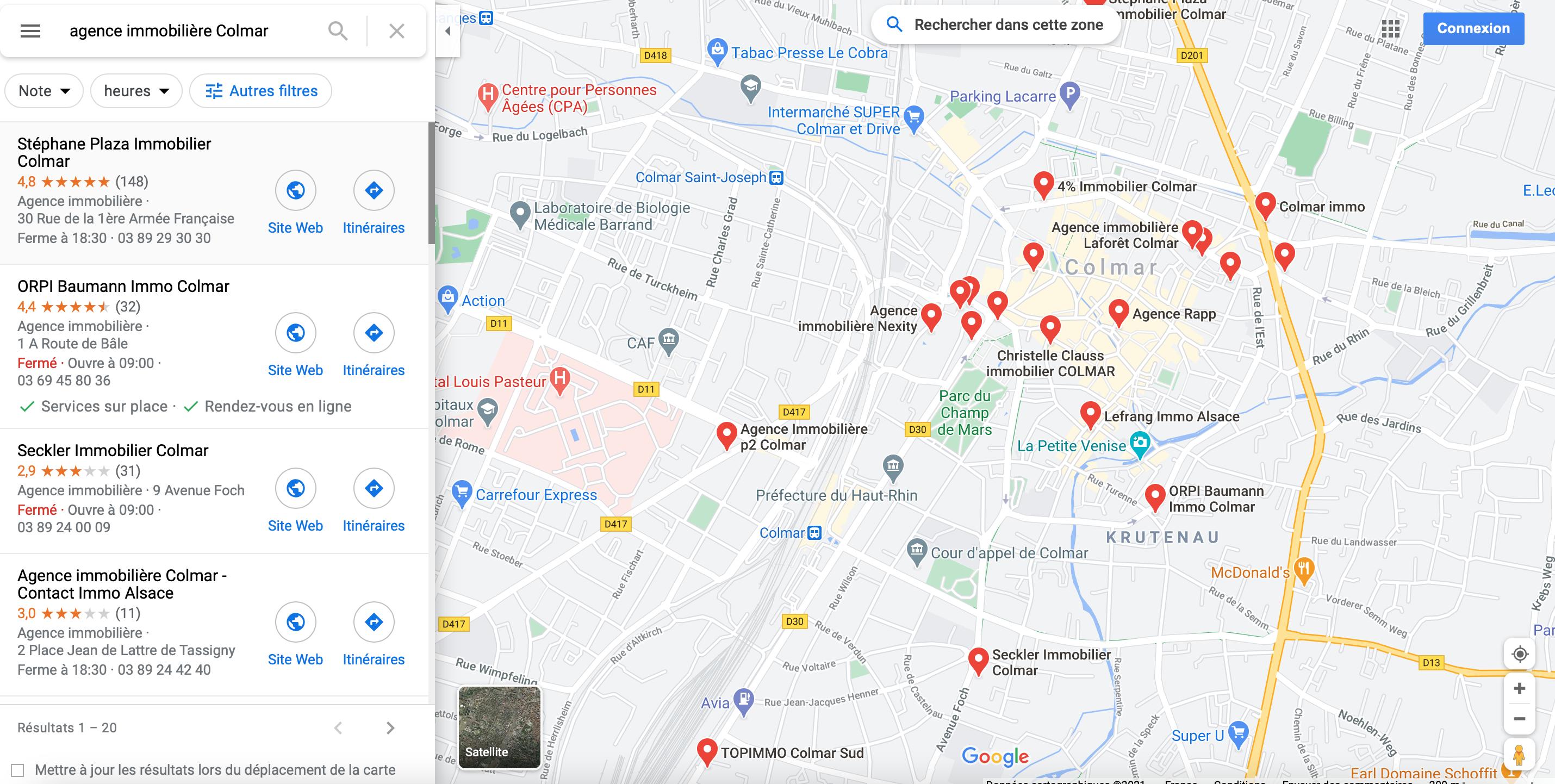 Agence immobiliere Colmar Recherche Google Maps