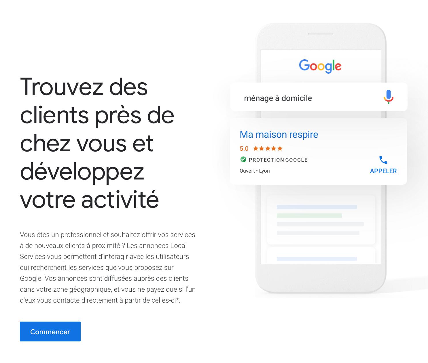 Annonces Local Services de Google