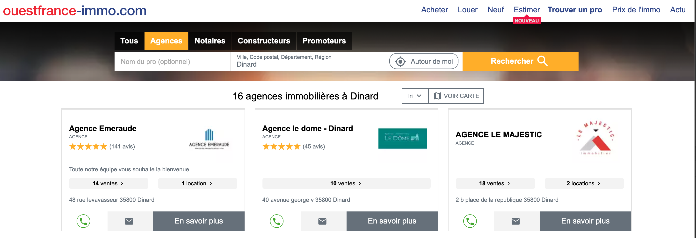 Classement recherche immobiliere Dinard Ouest France Immo