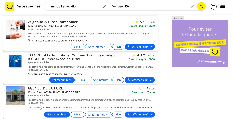 Classement recherche immobiliere Maine et Loire Pages Jaunes
