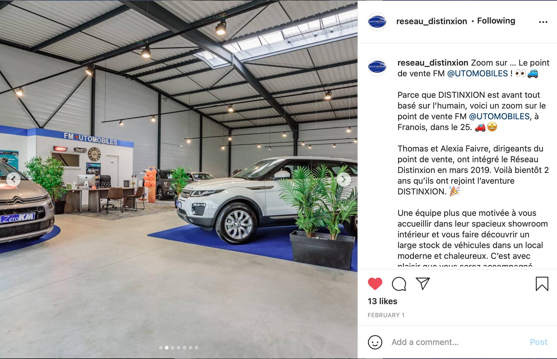 Exemple publication Instagram réseau Distinxion