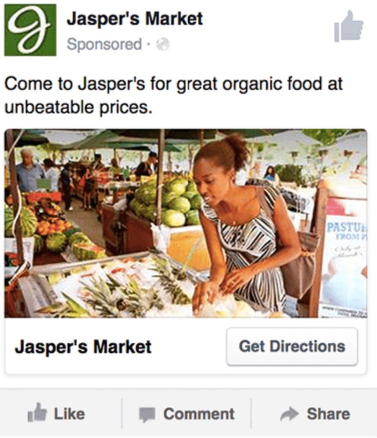Jaspers Market exemple de publicité locale Facebook
