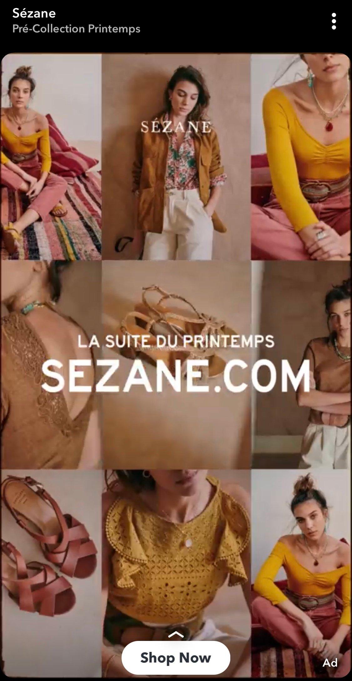 Publicité Sezanne sur Snapchat Exemple