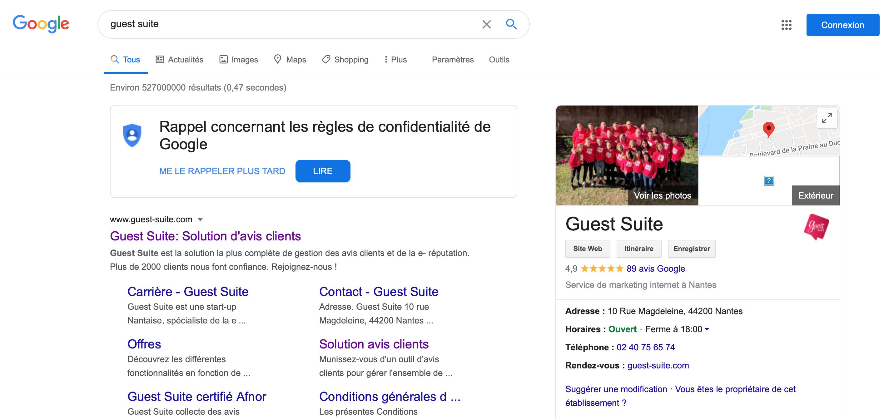 Fiche Google My Business Guest Suite
