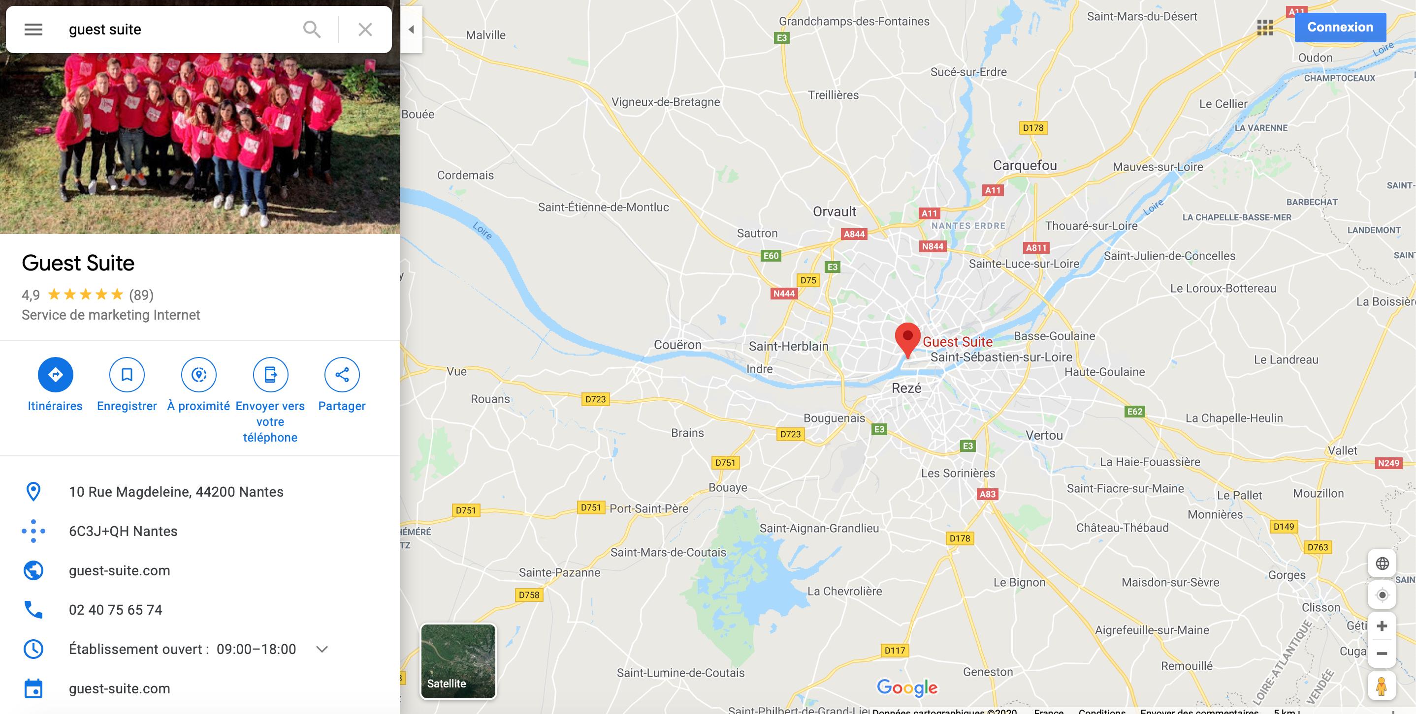 Fiche Google My Business Guest Suite Google Maps
