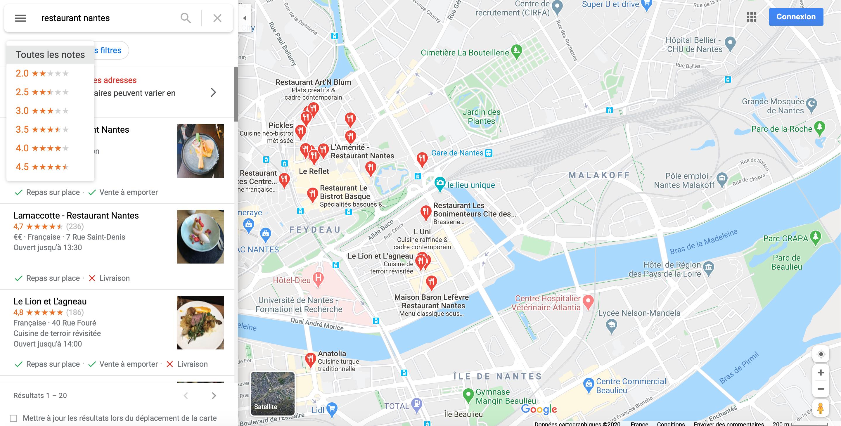 Liste Restaurants à Nantes sur Google Maps