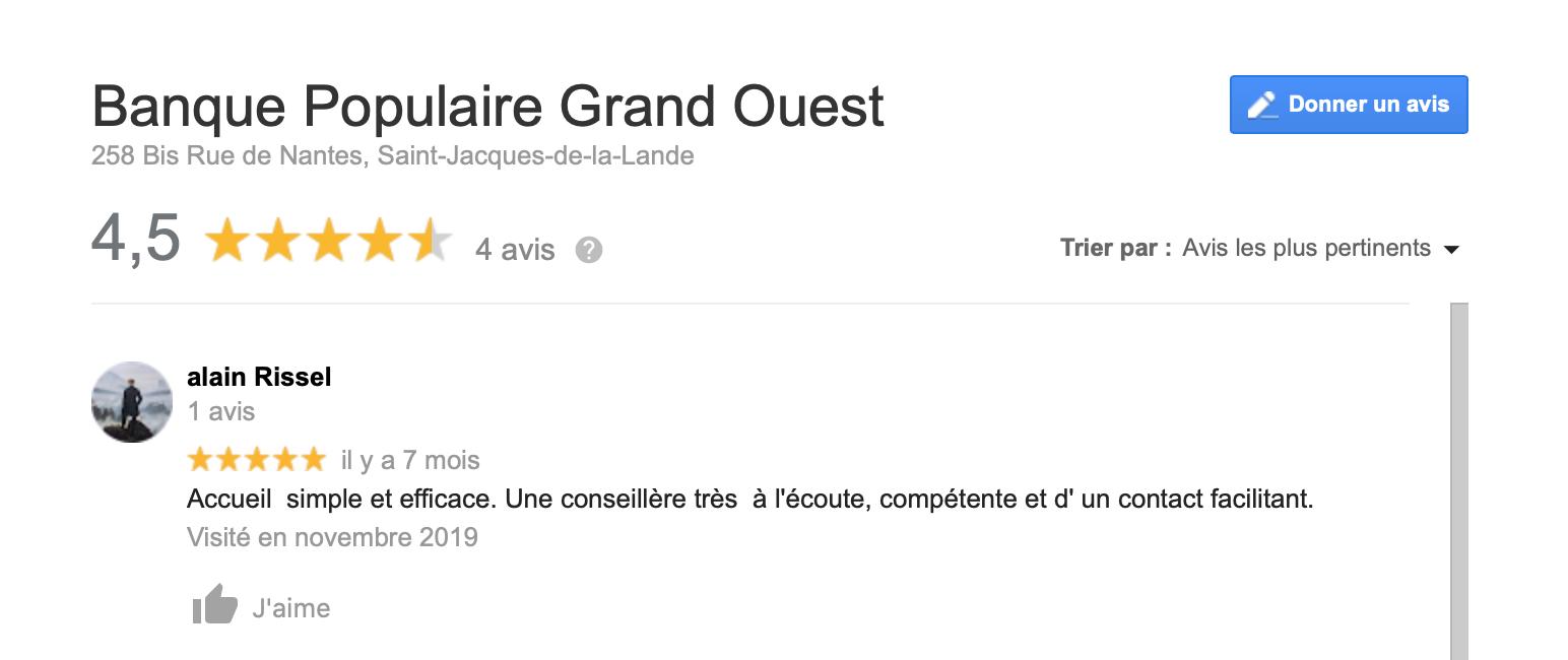 Avis Google Banque Populaire Grand Ouest