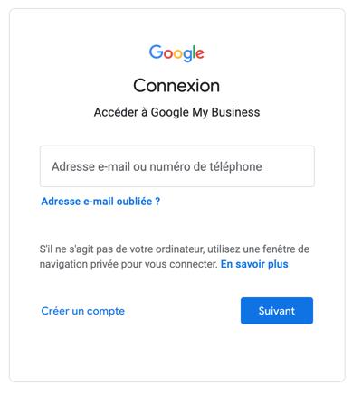 Interface de connexion de Google qui propose d'ajouter l'adresse email et deux boutons : créer un compte ou suivant