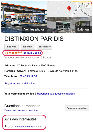 diffusion avis sur Google